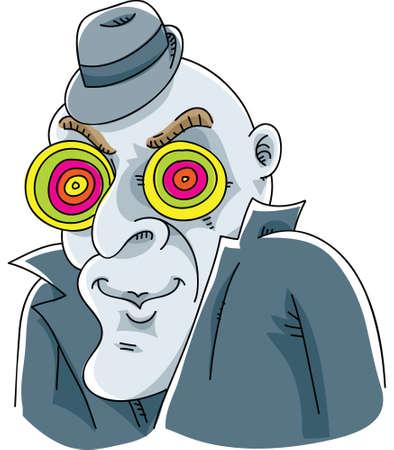 A cartoon mystery man with hypnotic eyes.