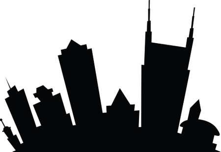 漫画のナッシュビル、テネシー州、アメリカ合衆国の都市のスカイライン シルエット。  イラスト・ベクター素材