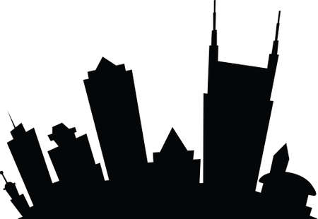 Cartoon skyline silhouette of the city of Nashville, Tennessee, USA.  Çizim
