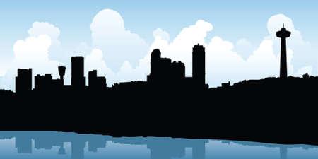 business district: Skyline silhouette of the city of Niagara Falls, Ontario, Canada.