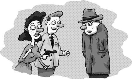 film noir: A cartoon couple threaten a private detective in a film noir scene.