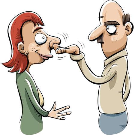 A cartoon man helps a woman by picking her nose. Illusztráció