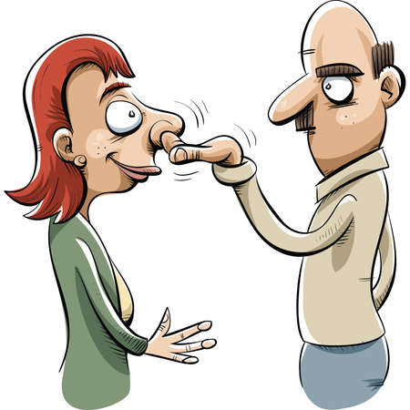 snot: A cartoon man helps a woman by picking her nose. Illustration