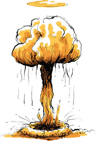 nuclear bomb: A large explosion results in a mushroom cloud.