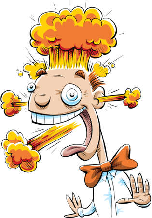 Nuclear explosions blast out of an excited man's head. Illustration