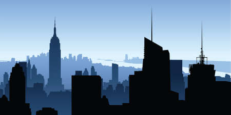 city building: Skyline silhouette of New York City, USA.