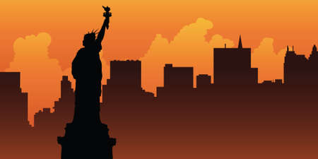 hudson: Silhouette of the Statue of Liberty looks over the skyline of Lower Manhattan. Illustration