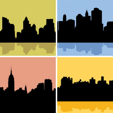 hudson river: Skyline silhouette set of New York City, USA.