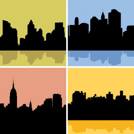 Skyline silhouette set of New York City, USA.