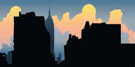 new york skyline: Skyline silhouette of New York City, USA.