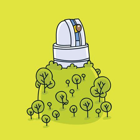 Un observatoire de bande dessinée sur le sommet d'une colline verdoyante. Banque d'images - 29634987