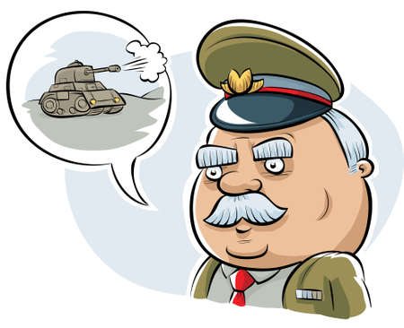 tell stories: A retro cartoon military officer talking about a tank.