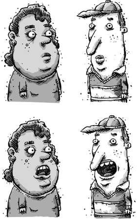 Un uomo cartone animato e una donna in una conversazione con bocca aperta e chiusa. Archivio Fotografico - 29634999