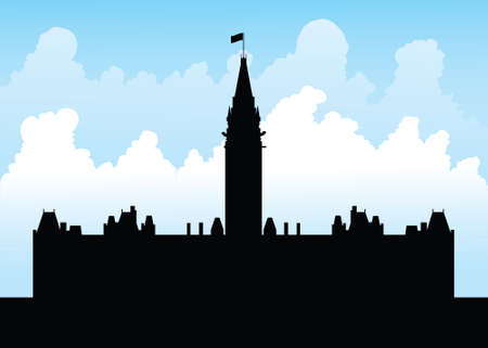 Silhouette of the goverment building on Parliament Hill, Ottawa, Ontario, Canada.