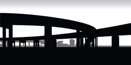 hamilton: A silhouette of two raised highways meeting.