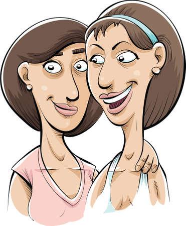 dibujos animados de mujeres: Dos mujeres de la historieta que son buenos amigos.