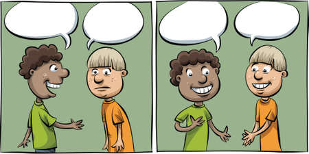 Two cartoon panels of two boys having a friendly conversation.  Illustration