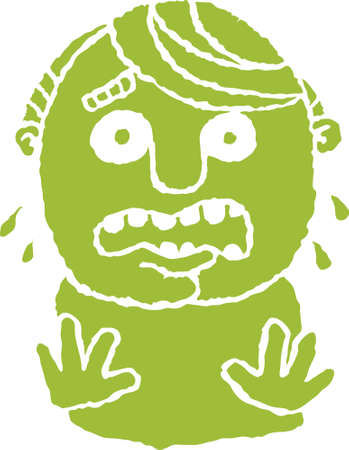 A cartoon silhouette of a man in a panic.  Ilustração