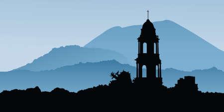 파멸: Paracutin 화산, 멕시코에서 화산 바위에 묻혀 성당 파멸의 실루엣입니다.
