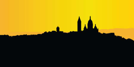 paris skyline: Montmartre silhouette on the Paris skyline. Illustration