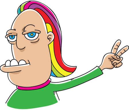 A strange cartoon man holds up a peace hand sign. Illustration