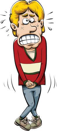 Een cartoon man die zijn pee in.