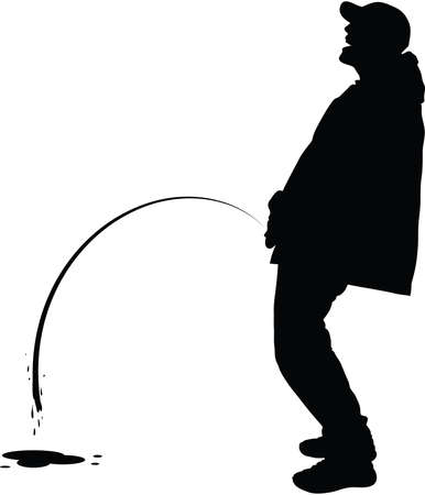 A silhouette of a man peeing outdoors.