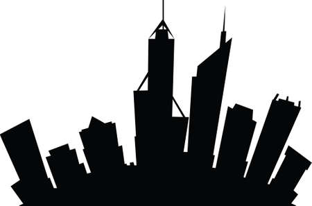 Cartoon skyline silhouette of the city of Perth, Western Australia.
