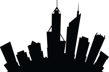 Cartoon skyline silhouette of the city of Perth, Western Australia.