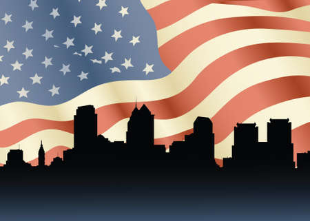 business district: Skyline silhouette of the city of Philadelphia, Pennsylvania, USA with US flag backdrop. Illustration