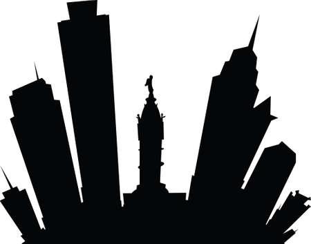 philadelphia: Cartoon skyline silhouette of the city of Philadelphia, Pennsylvania, USA.
