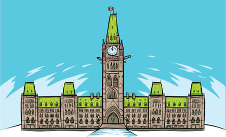 Cartoon of Parliament Building in Ottawa, Ontario, Canada.  Vector