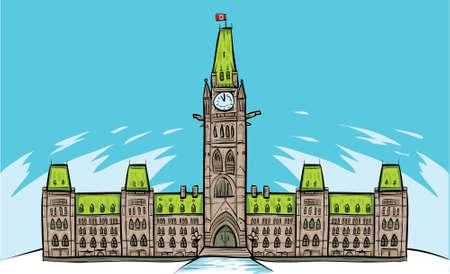 Cartoon van het Parlementsgebouw in Ottawa, Ontario, Canada.