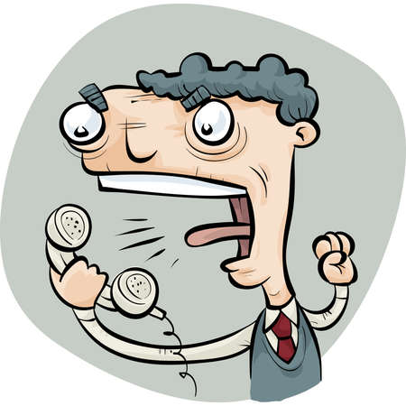 A cartoon man yells into his telephone landline.