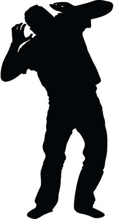 exasperation: Silhouette of man reacting with exasperation to his mobile phone.