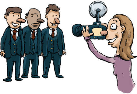 A cartoon photographer takes a photo of three men in suits.