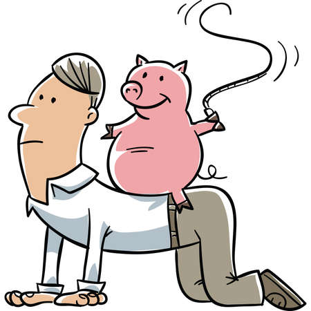 whip: A cartoon pig riding a man and snapping him with a whip. Illustration