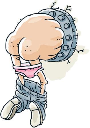 slip homme: Un homme de dessin anim� coinc� dans un tube avec des pantalons et sous-v�tements roses tomber.