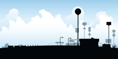 suburbia: Cartoon silhouette of retail and signs at a roadside stop.