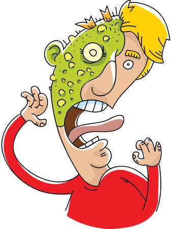 A cartoon man is victim to a bubbly, green plague rash.