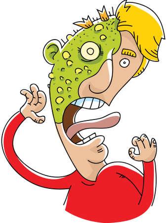 Een cartoon man is het slachtoffer van een bruisende, groene plaag uitslag.
