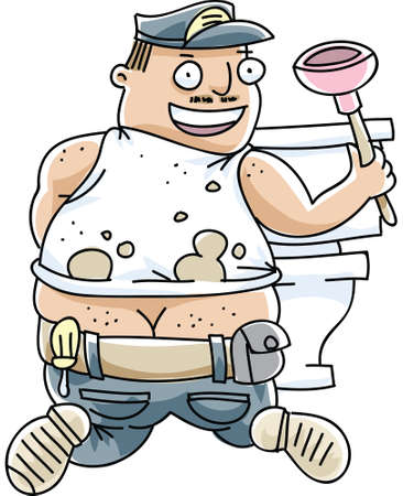 A cartoon plumber's butt crack is visible as he fixes a toilet.