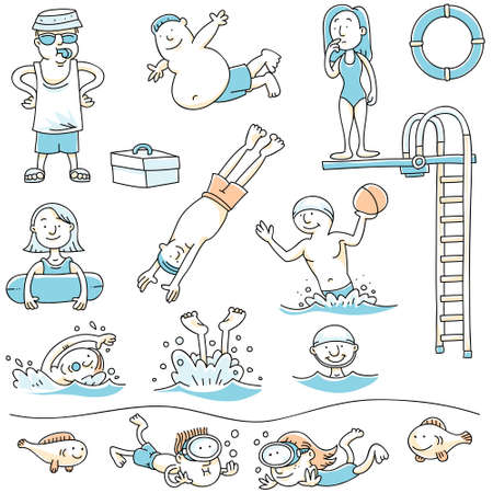diving board: Cartoon set of people swimming for recreation. Illustration