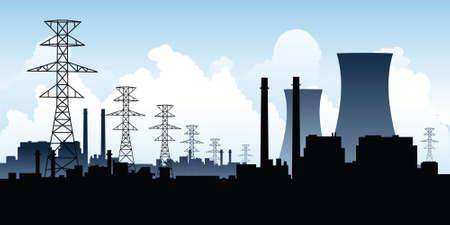 paesaggio industriale: Una silhouette skyline di una centrale nucleare.