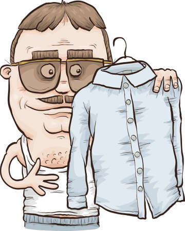 A hip cartoon man in sunglasses examines his pressed white shirt.
