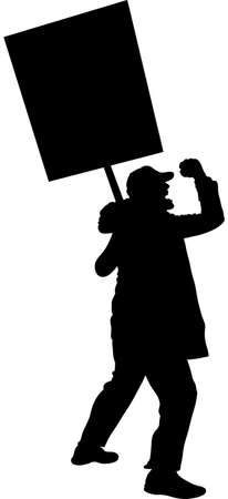 A silhouette of an angry protester holding a sign, shouting and waving his fist. 일러스트