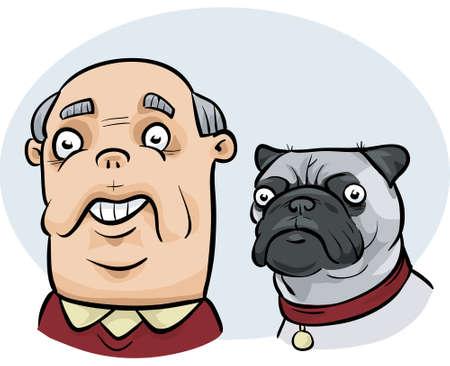 A cartoon man who looks similar to his pug dog.