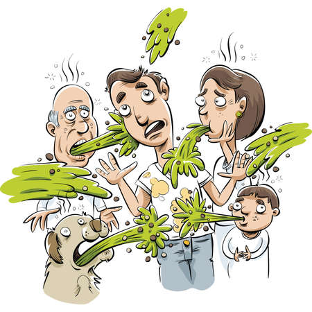 A cartoon man ends up covered in vomit when everyone around him becomes sick.  Stock Illustratie