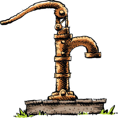 A old-fashioned cartoon water pump on top of a well.