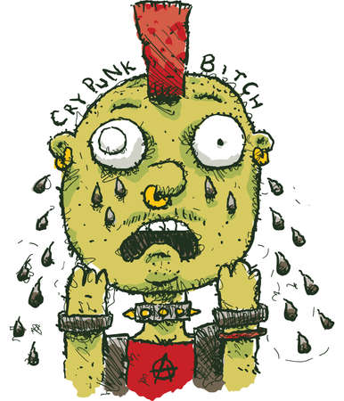 tough: A cartoon punk rocker crying tears of sadness. Illustration